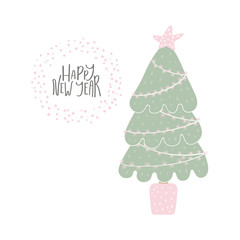 Hand drawn vector illustration of a cute decorated Christmas tree, with lettering quote Happy New Year. Isolated objects on white background. Flat style design. Concept for card, invite.