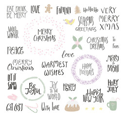 Big set of Christmas lettering quotes, with frames, elements. Isolated objects on white background. Hand drawn vector illustration. Flat style design. Concept for Christmas card, invite.