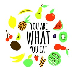Fruits background. Digital illustration for you