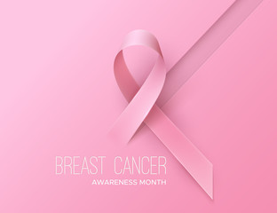 Breast Cancer Awareness Pink Ribbon. Pink october symbol. Disease prevention month banner concept. Vector healthcare Illustration. Abstract background with women health sign.