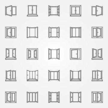 Window outline icons set. Vector open windows symbols