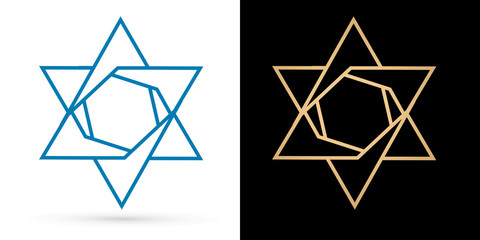 Israel star, modern star, luxury graphic vector.