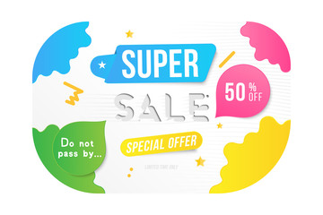 Super sale 50 off discount. Banner template for design advertising and poster with colors elements on white background. Flat vector illustration EPS 10
