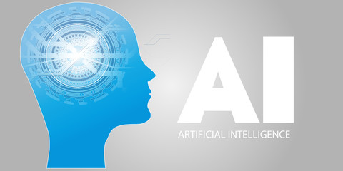 Artificial Intelligence AI Futuristic Concept. Human Big data Visualization with Cyber Mind. Machine Deep Learning.