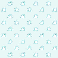 Pattern based of a kawaii illustration of a happy chubby kawaii cat made of ice enjoying his own melting. Sad and cute at the same time! Summer is almost over. But it's still very hot .