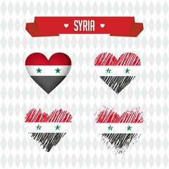 Syria heart with flag inside. Grunge vector graphic symbols