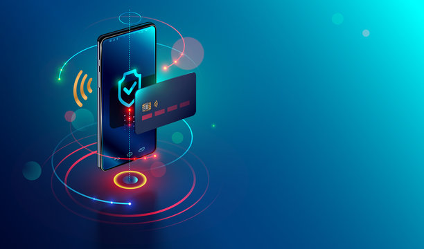 Isometric mobile phone and internet banking. online payment security transaction via credit card. protection shopping wireless pay through smartphone. digital technology transfer pay.