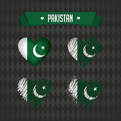 Pakistan. Collection of four vector hearts with flag. Heart silhouette