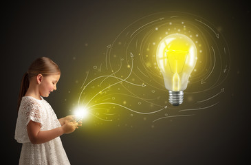 Adorable girl working on tablet with new idea concept