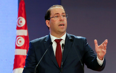 Tunisia's Prime Minister Youssef Chahed speaks during a national conference over 2019 budget in Tunis