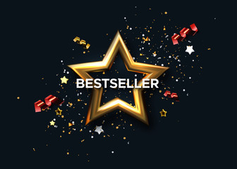 Bestseller award sign. Vector 3d illustration. Golden star with confetti tinsel and ribbon streamers. Popular product banner. Marketing banner design