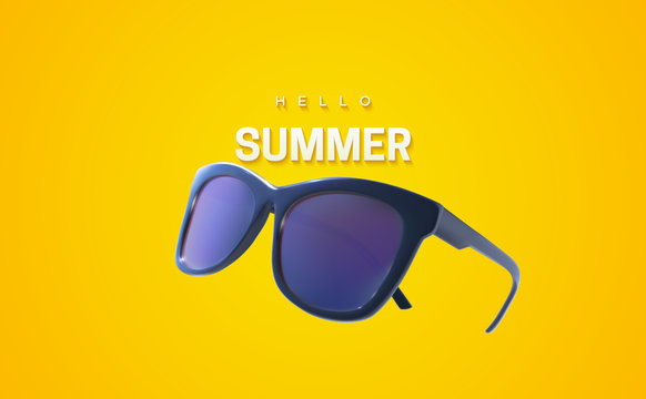 Hello Summer. Vector summertime illustration. Realistic 3d sunglasses and text label isolated on yellow background. Seasonal poster. Fashion eyewear accessory design.