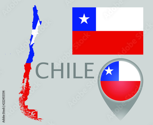 Colorful flag, map pointer and map of the Chile in the colors of the on