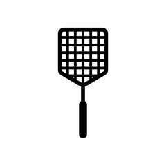 Fly swatter icon. Black on white background