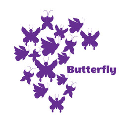 illustration. Silhouettes of purple butterflies. White background