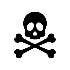 Skull and crossed bones. Simple icon. Black on white background