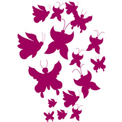 Silhouettes of pink butterflies. Chaotic on a white background