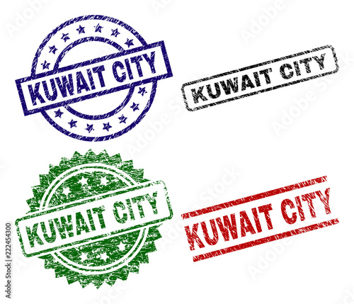 KUWAIT CITY seal prints with damaged style  Black, green,red