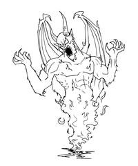 disegno di un demone evocato