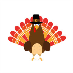 Thanksgiving day red feathers turkey pilgrim hat, flat style, red feathers. Cute cartoon.