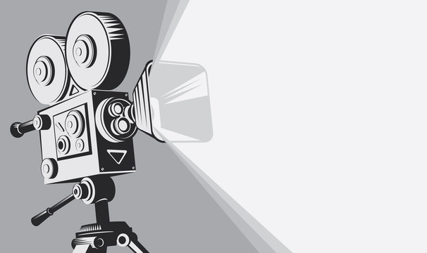 Vector black and white background with lighting old fashioned movie camera on the tripod. Can used for banner, poster, web page, background