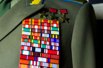 Military medals of the Soviet Union on the uniform.