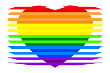 Colorful rainbow striped heart on white (transparent) background, colors of LGBT pride flag, symbol of lesbian, gay, bisexual, transgender, and queer/questioning (LGBTQ). Vector illustration, EPS 10.