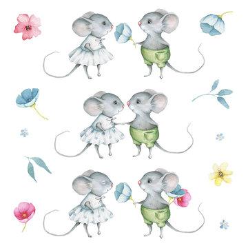 Watercolor Cute Little Mice Set