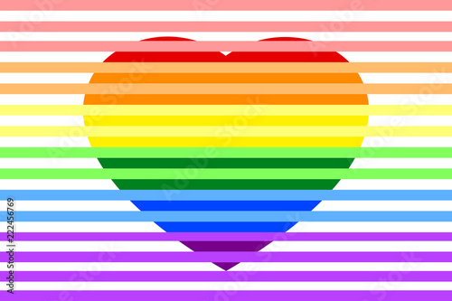 Colorful Rainbow Striped Heart On White Transparent