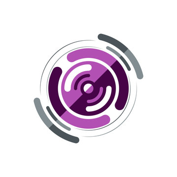 Abstract purple playing sub woofer, logo template. To shop of musical instruments and musical acoustics. Vector illustration.