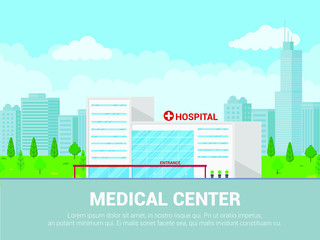 Landscape hospital building medical concept flat style design. Panoramic background with hospital building, plants, green grass, cloudy sky and city on background. Template for business or posters.