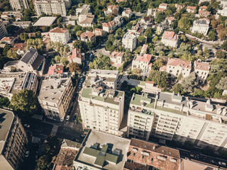 Marseille, aerial view over a district with old buildings, architecture footage color2