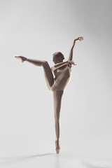 Young graceful female ballet dancer or classic ballerina dancing on white studio. Caucasian model...