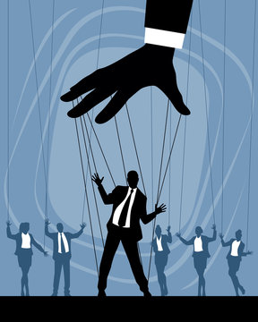 Silhouettes of business puppets