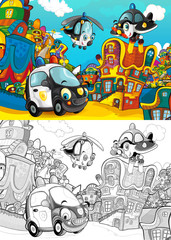 cartoon scene with different vehicles in the city car and flying machines - plane and helicopter - with artistic coloring page - illustration for children