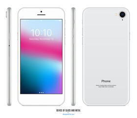 smartphone mockup in silver color with colorful screen front, back and side on white background. stock vector illustration eps10