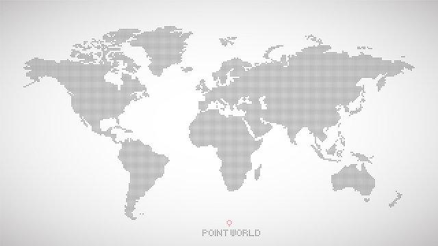 world map of black dots on grey background. stock vector illustration eps10