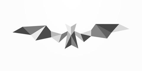 Bat polygonal abstract emblem. Geometric vector bat illustration isolated on white background.