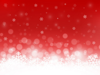 Red snow background. Snowflakes with particles and bokeh. Blurred backdrop. Christmas background. Holiday winter theme. Vector illustration