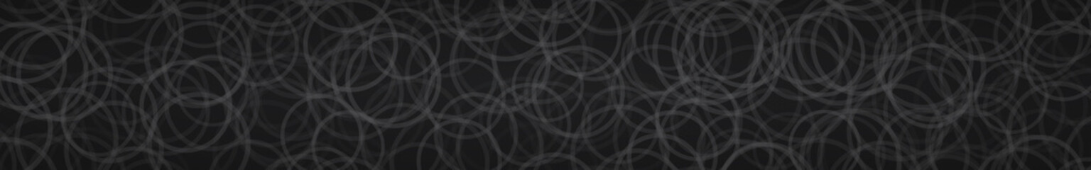 Abstract horizontal banner of randomly arranged contours of circles on black background