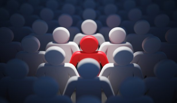 Liadership, difference and standing out of crowd concept. 3D rendered illustration.