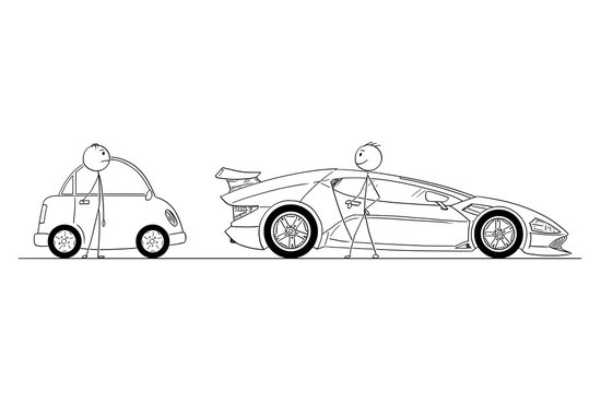 Cartoon stick drawing conceptual illustration of comparison of two men or businessmen. Successful and rich man owns expensive and luxury super sport car, poor guy owns small and cheap car. Business