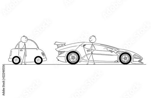 Cartoon stick drawing conceptual illustration of man or