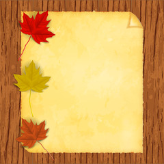 Vector image of a realistic autumnal, maple leaf on an old paper that is on a wooden background.