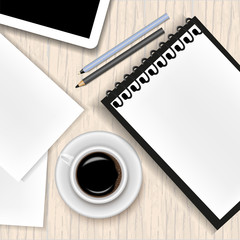 Vector image of a realistic office background. A cup of coffee, a notepad, a tablet, a pen, a pencil and a sheet of paper lying on a wooden table