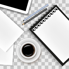 Vector image of a realistic office background. A cup of coffee, a notepad, a tablet, a pen, a pencil and a sheet of paper lying on a transparent background