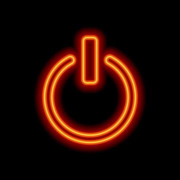 shut down, power. Orange neon style on black background. Light i