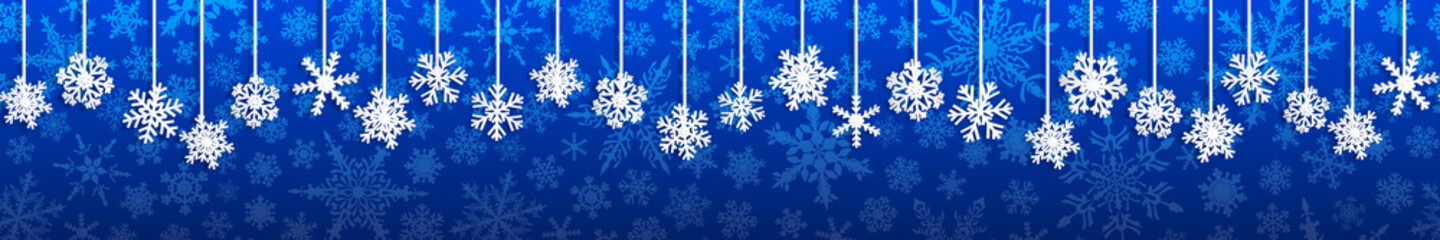 Christmas seamless banner with white hanging snowflakes with shadows on blue background