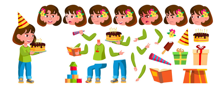 Girl Kindergarten Kid Vector. Animation Creation Set. Face Emotions, Gestures. Preschool, Childhood. Smile. Toys. For Advertisement, Greeting, Announcement Design. Animated. Isolated Cartoon