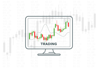 Forex trading graph. Vector financial technology illustration. Investment strategies or online trading concept. Desktop computer monitor with candlestick chart. Stock exchange indicators.